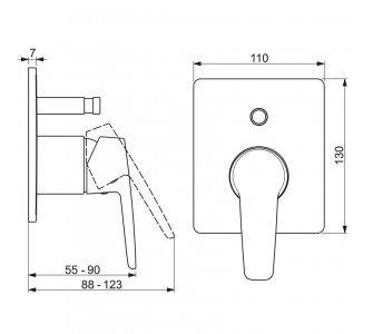 batéria sprchová nadomietková, pre 2 odberné miesta, HANSAPOLO, chróm