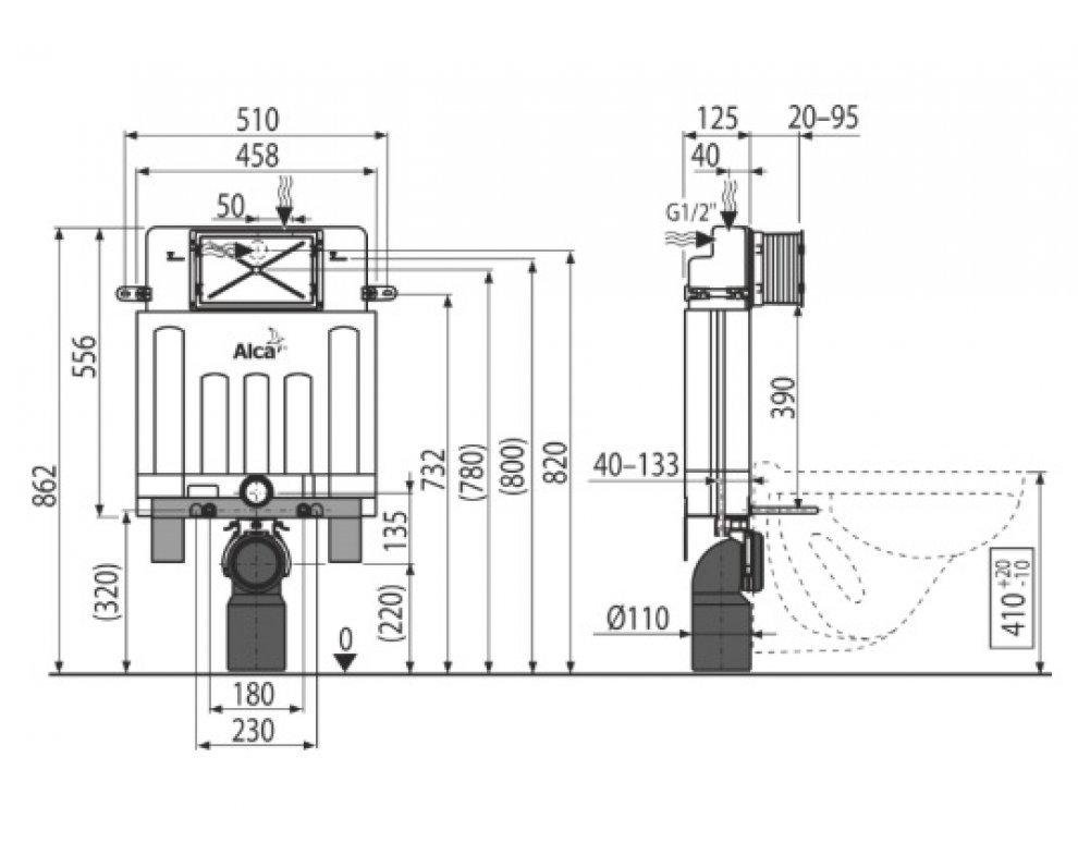 ALCAMODUL® predstenový inštalačný systém na zamurovanie, bez tlačítka, 850 mm