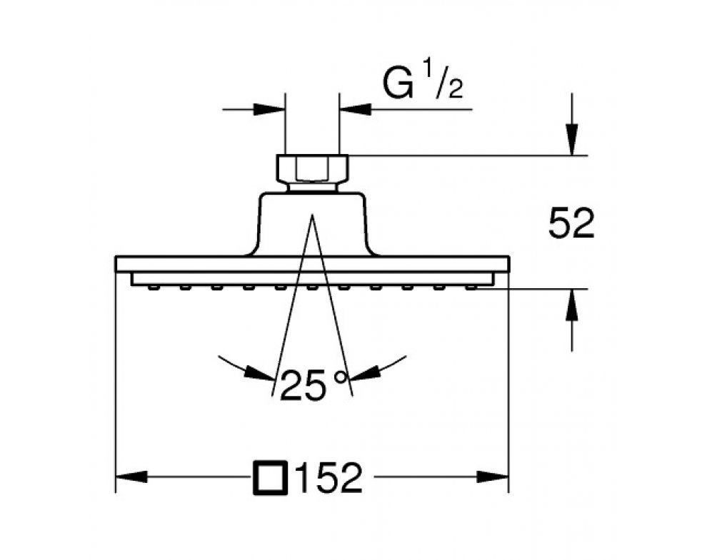 Hlavová sprcha 152 x 152 mm Euphoria Cube
