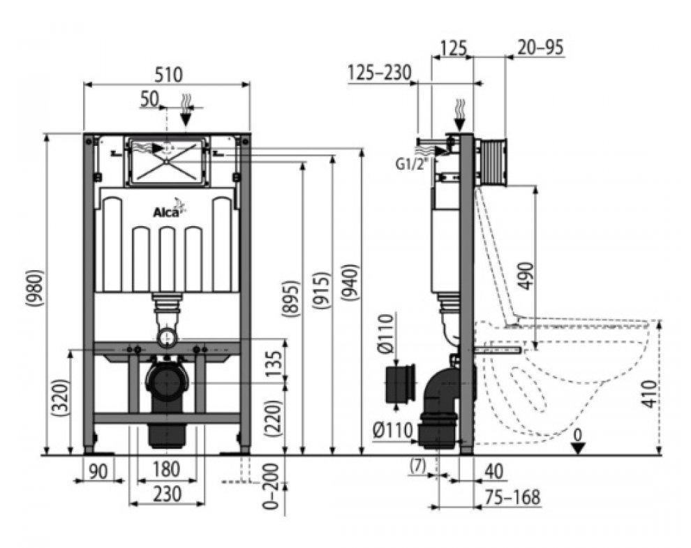 SÁDROMODUL® predstenový inštal. systém určený na suchú inštal. (do sádrokartónu), bez tlačítka, výška 1000 mm