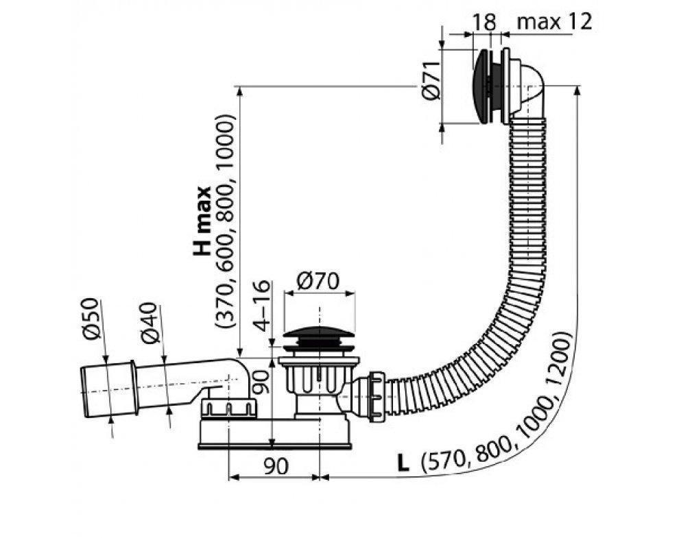 Sifón vaňový CLICK/CLACK, čierna-mat