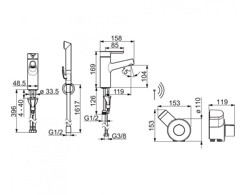 batéria umývadlová, s diaľkovo ovládanou bidetovou sprškou Smart Bidetta, HANSADESIGNO Style, chróm