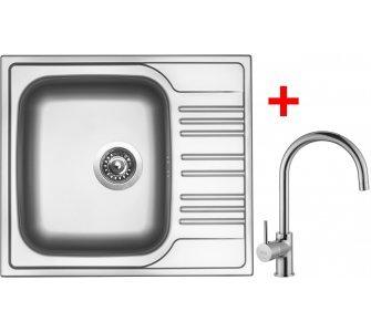 SET drez nerez matný Sinks STAR 580 V + batéria VITALIA lesklá