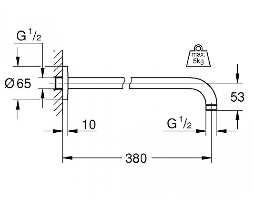sprchové rameno 380mm Rainshower