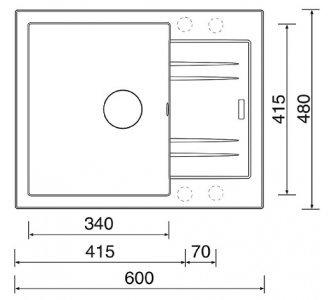 drez granitový Sinks LINEA 600 N Metalblack