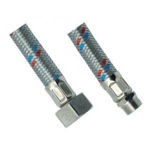 nerezová flexi hadica na vodu 1/2×1/2 MF 30cm, závit vonkajší/vnútorný