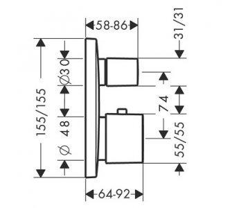 15771000  termostat pod omítku PuraVida vrchní sada chrom s uzavíracím a přepínacím ventilem