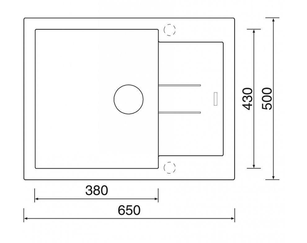 SET drez granit Sinks AMANDA 650 Granblack + batéria VITALIA GR
