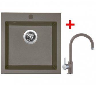 SET drez granit Sinks VIVA 455 Truffle + batéria VITALIA GR