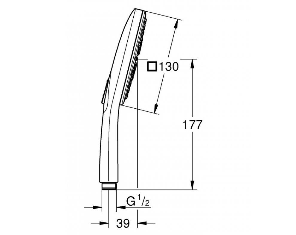 Ručná sprška 3-polohová, 130mm, prietok 9,5 l/min, RAINSHOWER AmartActive Cube, chróm