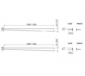 Nerezová lišta pre spádovanú podlahu, výška 10 mm, dĺžka 1200 mm, ľavá