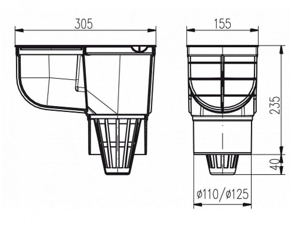 KV125-s Kanalizační vpusť D125-šedá