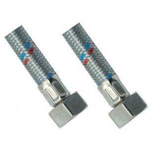 nerezová flexi hadica na vodu 3/8×3/8 FF 30cm, závit vnútorný/vnútorný
