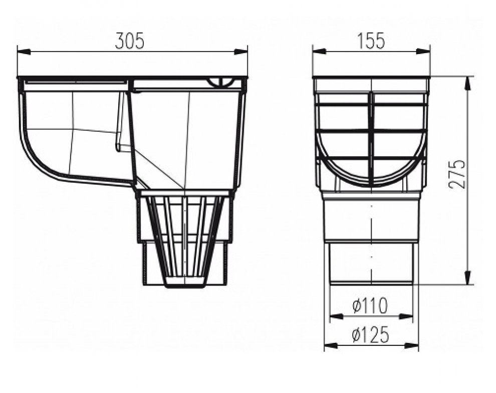 KV110/125 ST-s Kanalizační vpusť D110/125 - standard  šedá