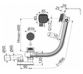 Sifón vaňový automat s napúšťaním prepadom, čierna-mat