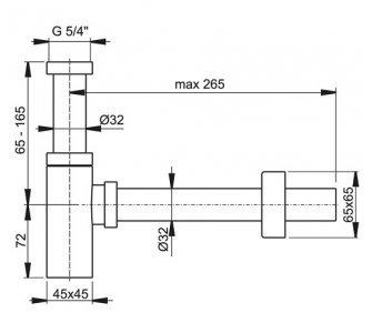 Sifón umývadlový o32 DESIGN celokovový hranatý