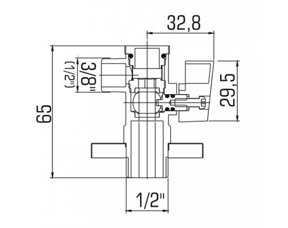 Ventil rohový guľový s filtrom a krytkou, krátky 1/2