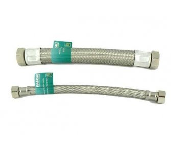 nerezová flexi hadica na vodu 1/2×1/2 FF 30cm, závit vnútorný/vnútorný GIGANT