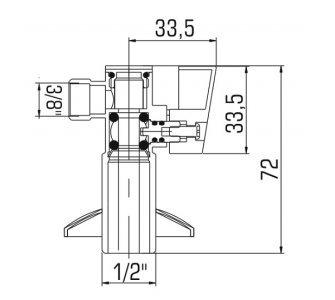 Ventil rohový guľový s filtrom a krytkou, dlhý 1/2