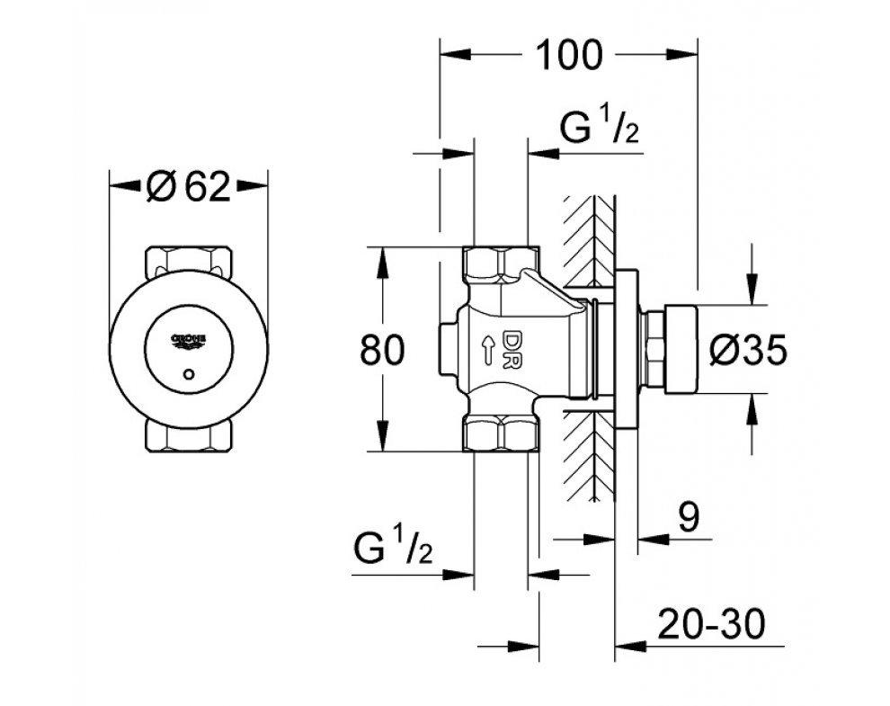 Samouzatvárací nástenný ventil,chróm Euroeco Cosmopolitan T