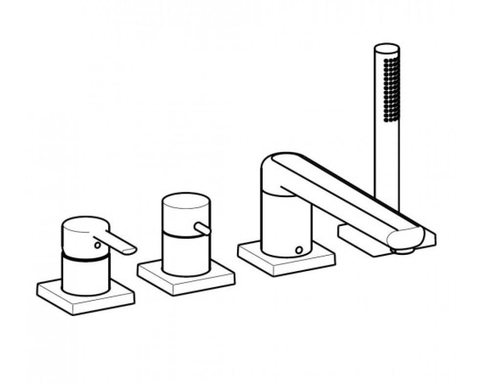 súprava na konečnú montáž pákovej zmiešavacej batérie pre všetky 4-otvorové armatúry,hranatá ružica, HANSARONDA