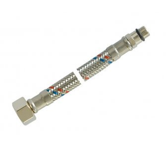 Nerezová prípojná flexi hadica 3/8 × M10 - 40 cm, krátky koniec