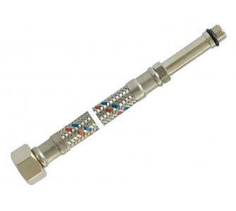 nerezová prípojná flexi hadica 3/8 × M10 - 40 cm, dlhý koniec
