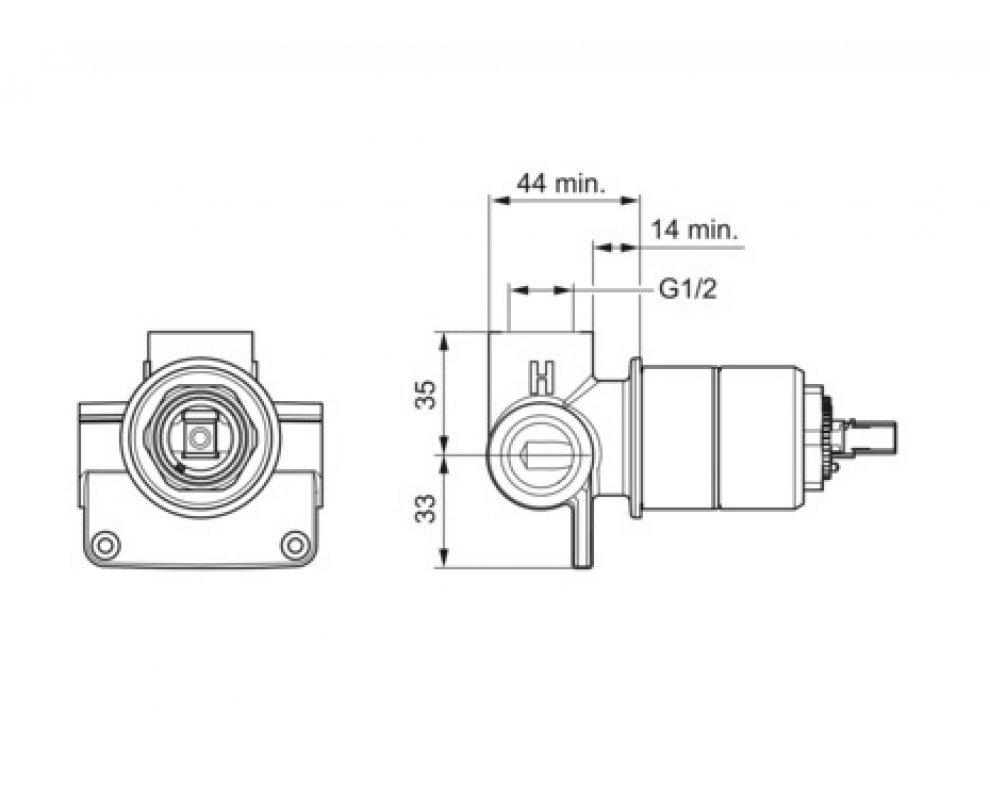 Základné univerzálne podomietkové teleso pre sprchovú batériu, HANSAVARIO
