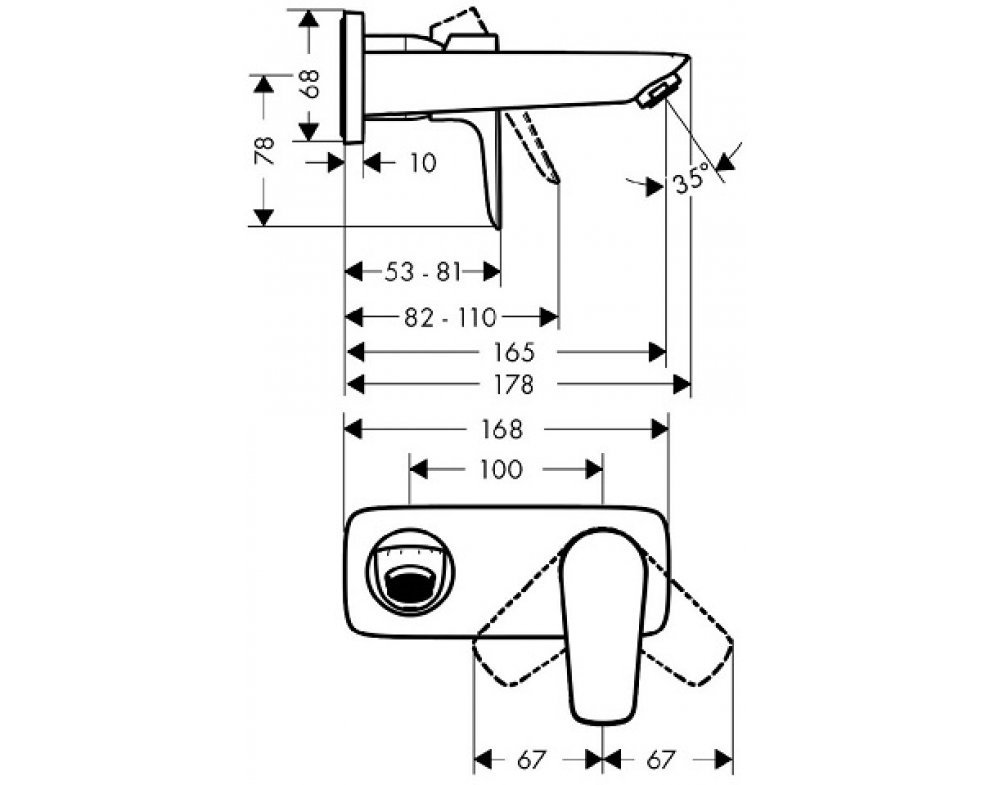 Páková umývadlová podomietková batéria s výtokom 165 mm, TALIS E