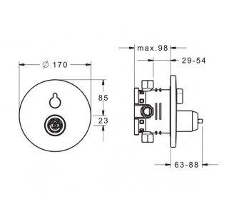 HANSAVAROX PRO funkčná jednotka s dekoračnou  súpravou - vaňová páková batéria