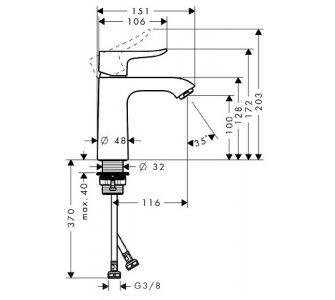 31084000 HG Metris páková umývadlová batéria 110, DN15, bez odtokovej súpravy
