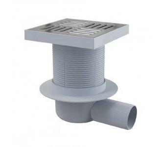 Podlahová vpusť 150 × 150/50 bočná, mriežka nerez, vodná zápachová uzávera