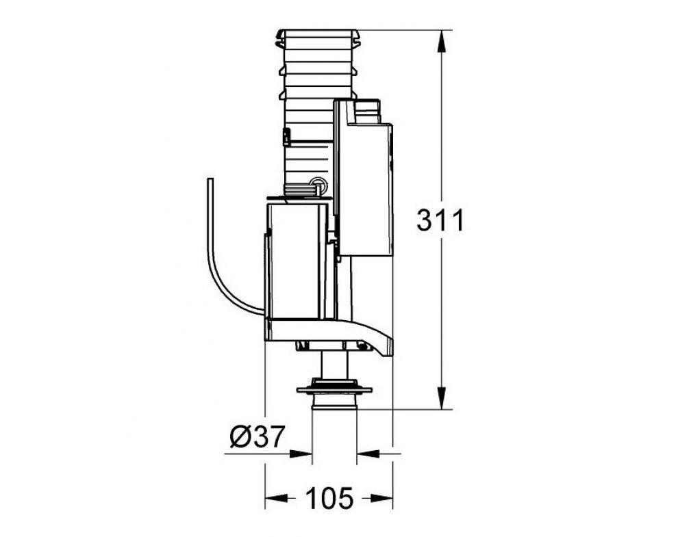Vypúšťací ventil AV1 s rozšírením