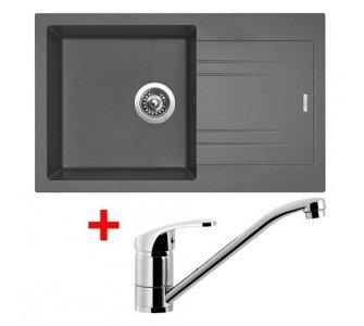 SET drez granitový Sinks LINEA 780 N Titanium + batéria PRONTO lesklý chróm