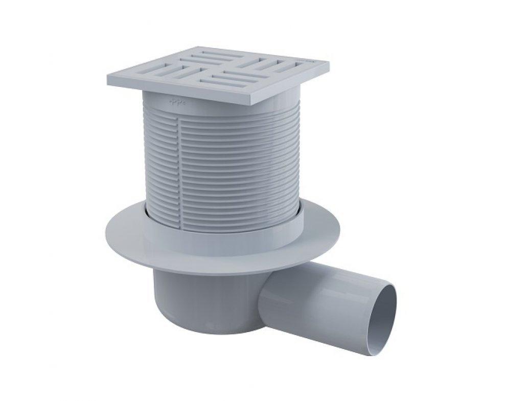 Podlahová vpusť 105 × 105/50 bočná, mriežka šedá, vodná zápachová uzávera