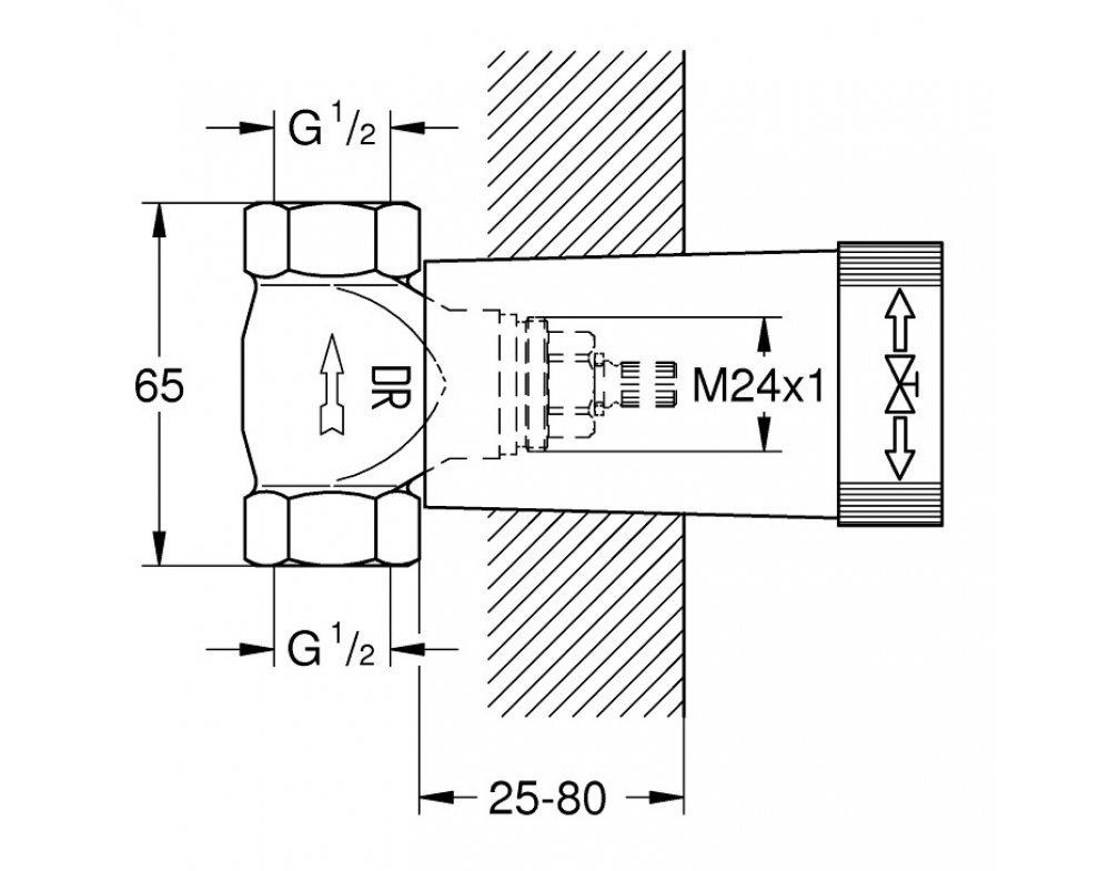 Spodný diel podomietkového ventilu
