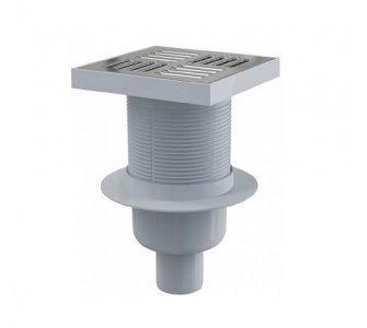 Podlahová vpusť 150 × 150/50 priama, mriežka nerez, vodná zápachová uzávera
