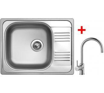 SET drez leštený nerez Sinks GRAND 652 V + batéria VITALIA lesklá