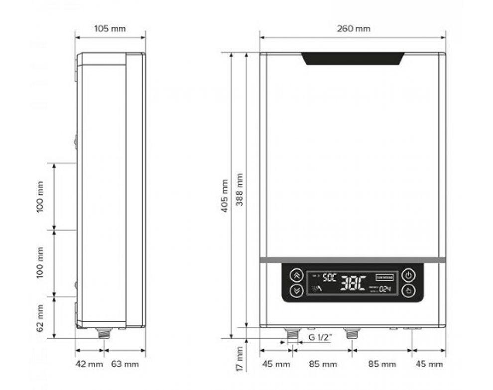 elektrický prietokový ohrievač vody s voliteľným výkonom, elektronickým spínaním a tlakovou prevádzkou 18 kW