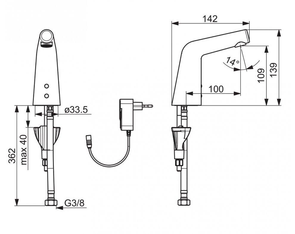 elektronická umývadlová batéria na studenú alebo predzmiešanú vodu, Bluetooth, napájací zdroj 9/12V, HANSADESIGNO