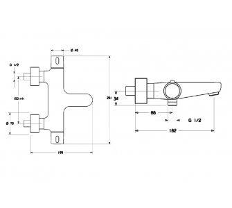 58102101 HANSAPRISMA, vaňová termostatická batéria