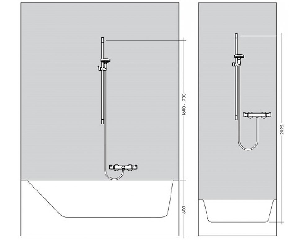 Sprchová súprava Vario Ecostat 1001CL Combi, 900 mm, biela/chróm