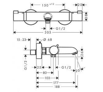Termostatická vaňová batéria, matná biela  - Ecostat Comfort