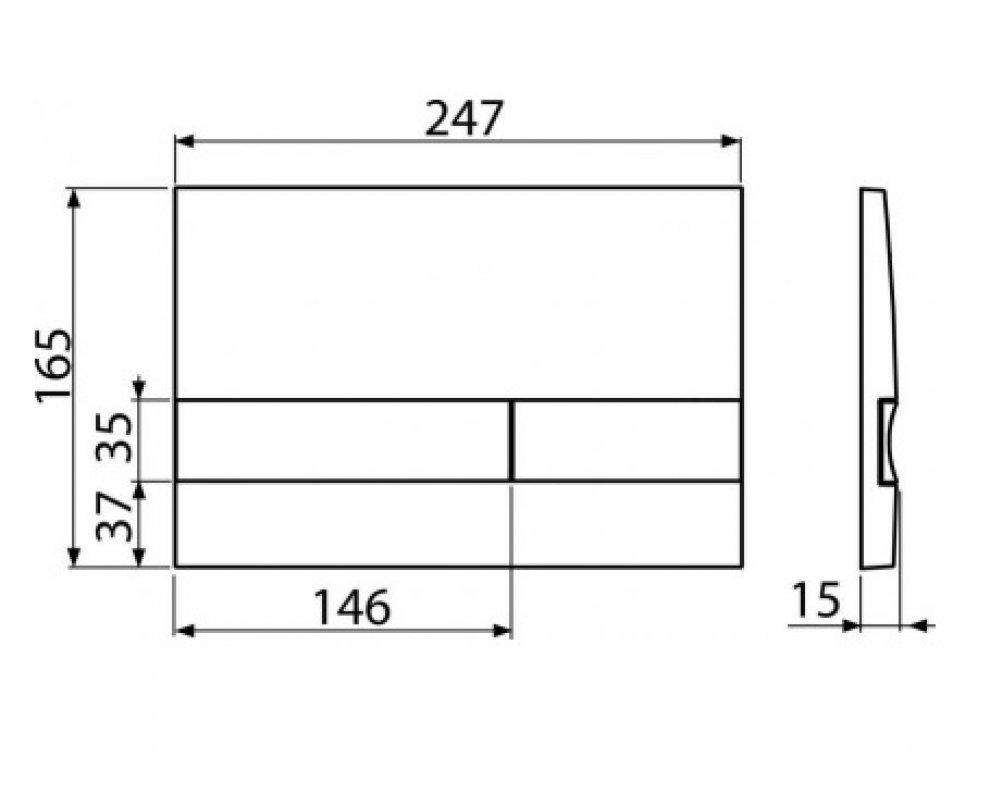 Ovládacie tlačítko pre predstenové inštalačné systémy, chrom-mat