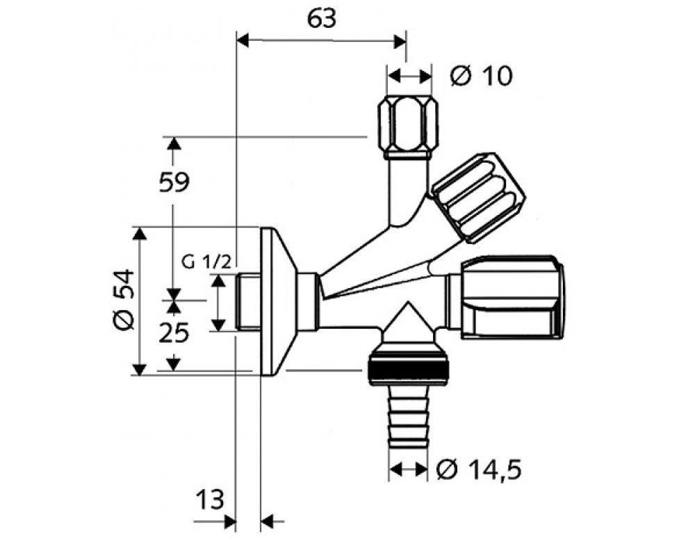 SCHELL rohový ventil kombinovaný