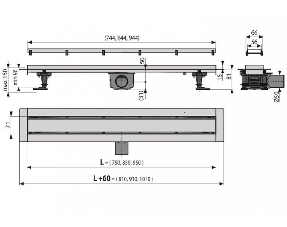 podlahový žľab - 750mm