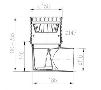 KVB110S-LI KV - boční D110 suchá -litina