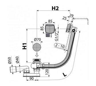 Sifón vaňový automat s napúšťaním prepadom chróm (dĺžka 100 cm)