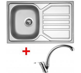 SET drez matný nerez Sinks OKIO 800 V + batéria EVERA lesklá