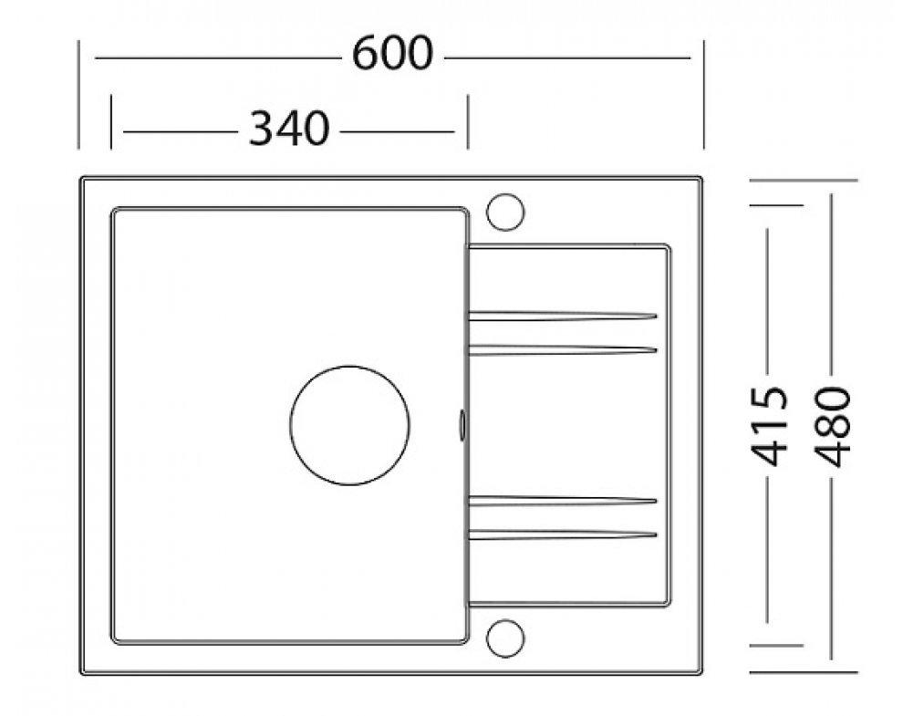 SET granit Sinks LINEA 600 Granblack+ENIGMA S GR